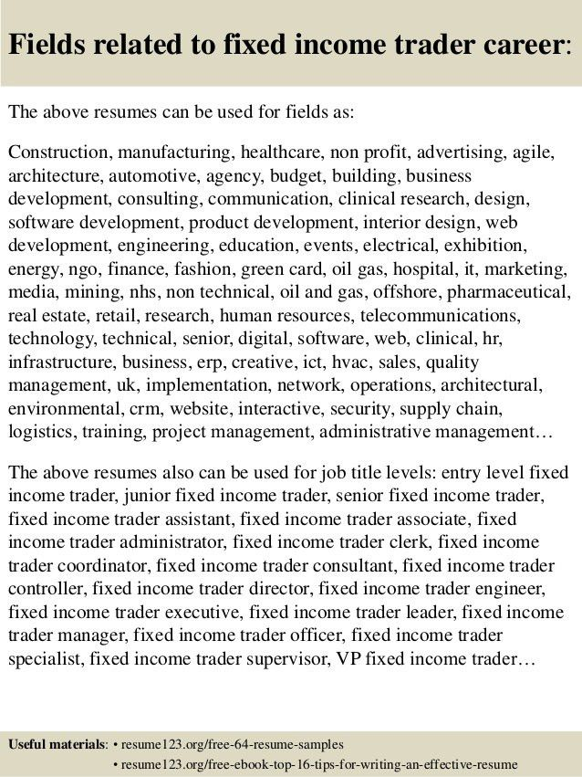 Top 8 fixed income trader resume samples