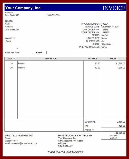 Invoice Format In Excel Sheet Free Download | free printable invoice