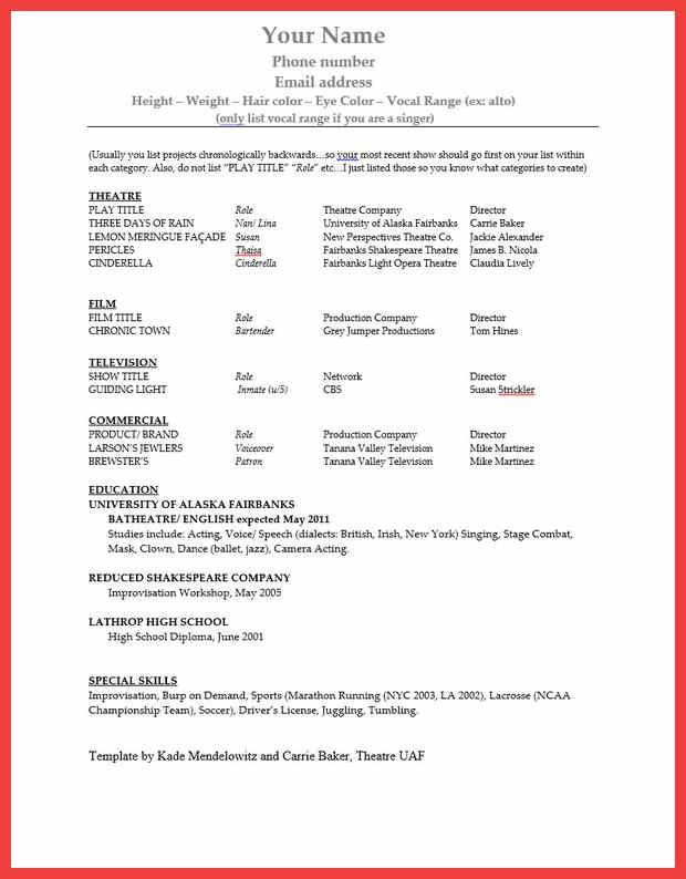 Free Actor Resume Template. acting. its. actor resume template 10 ...