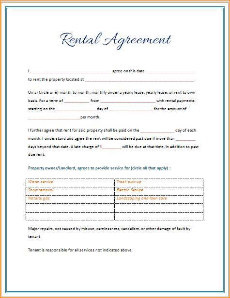 4+ rental agreement template word | Outline Templates