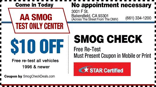 $10 Smog Test Coupons - STAR Smog Check - DMV Smog