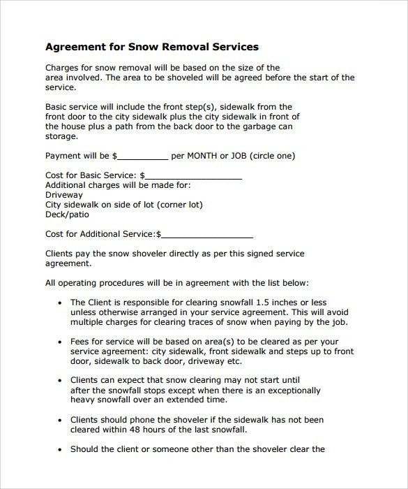 Snow Plowing Contract Template - 7+ Download Free Documents in PDF