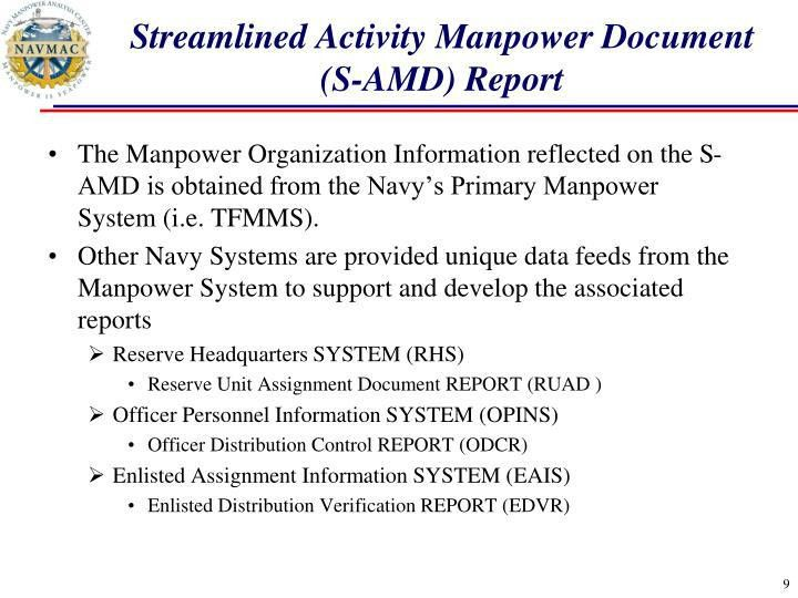 PPT - Streamlined Activity Manpower Document (S-AMD) Report ...