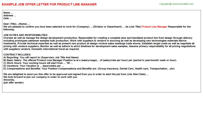 Product Line Manager Offer Letter