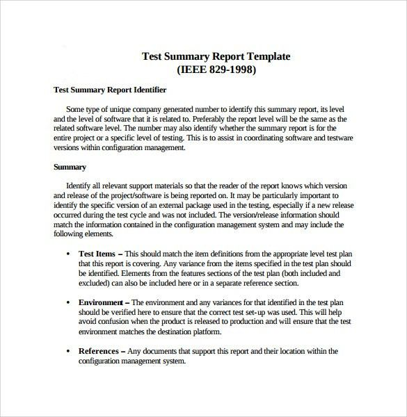 Summary Report Template - 8 + Free Samples , Examples , Format