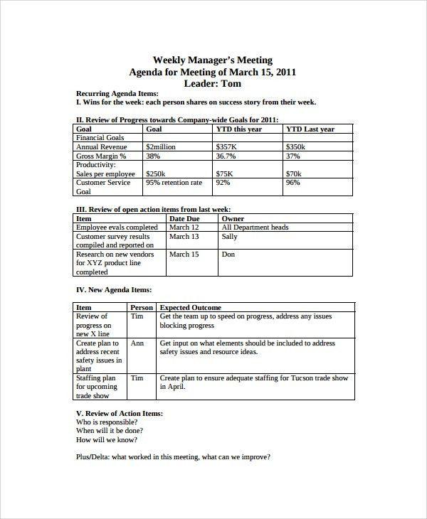 Sample Weekly Agenda - 7+ Documents in PDF, Word