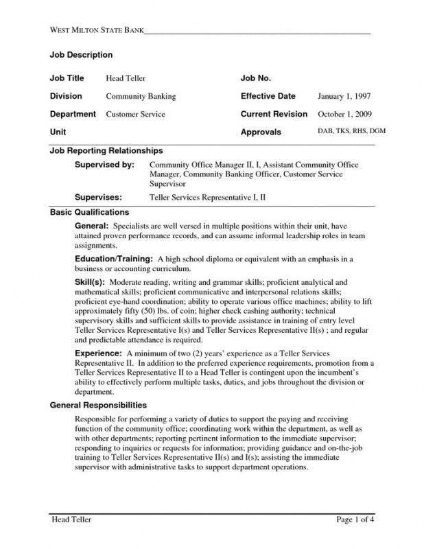 bank teller responsibilities resume