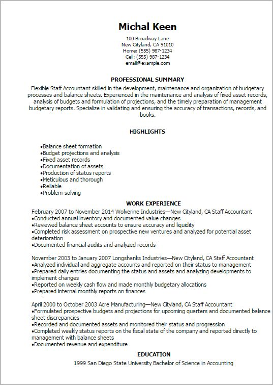 Resume Example Staff Accountant. Resume. Ixiplay Free Resume Samples