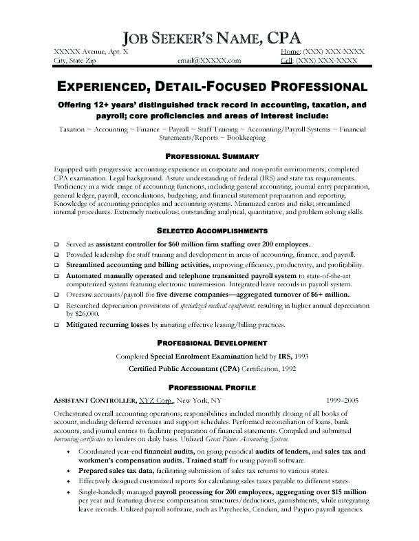 sample cpa resume cpa resume sample writing guide resume genius