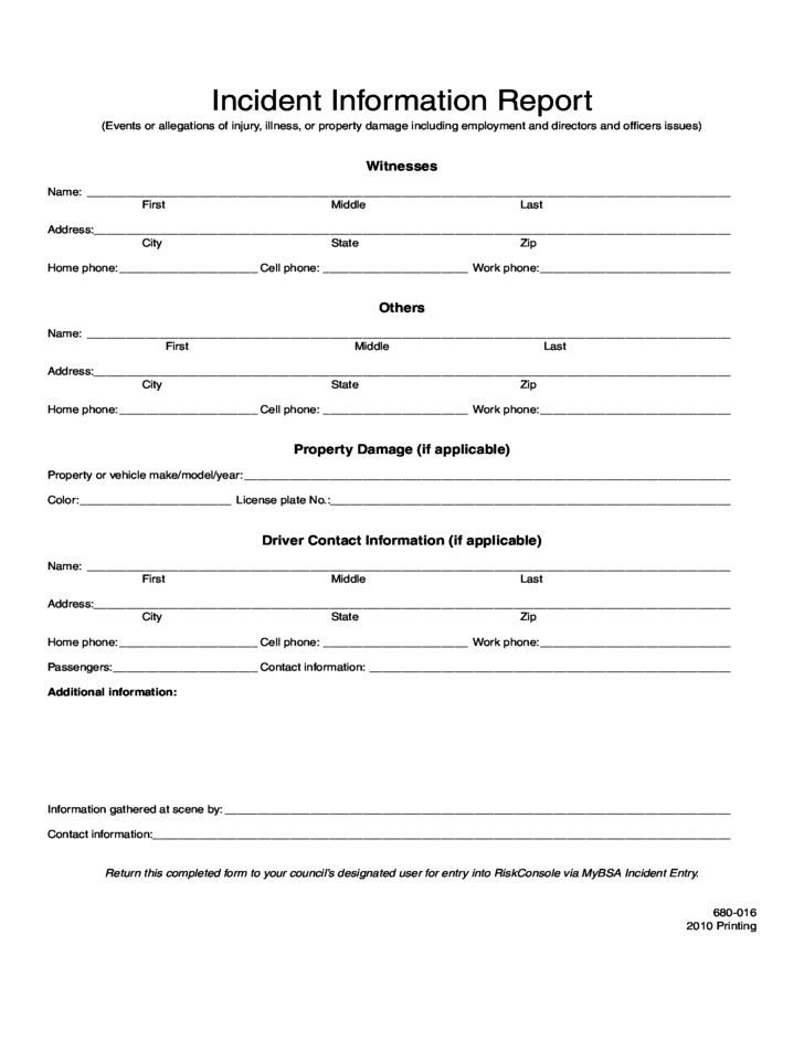 Sample Incident Report Form Free Download