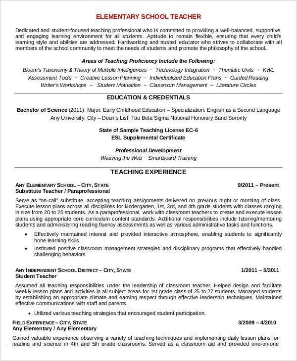 Teacher Resume Sample - 28+ Free Word, PDF Documents Download ...