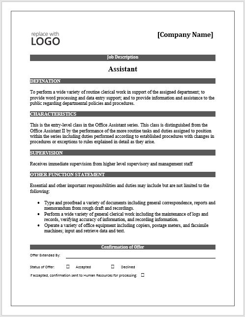 Job Description – Free Word Template – Microsoft Word Templates