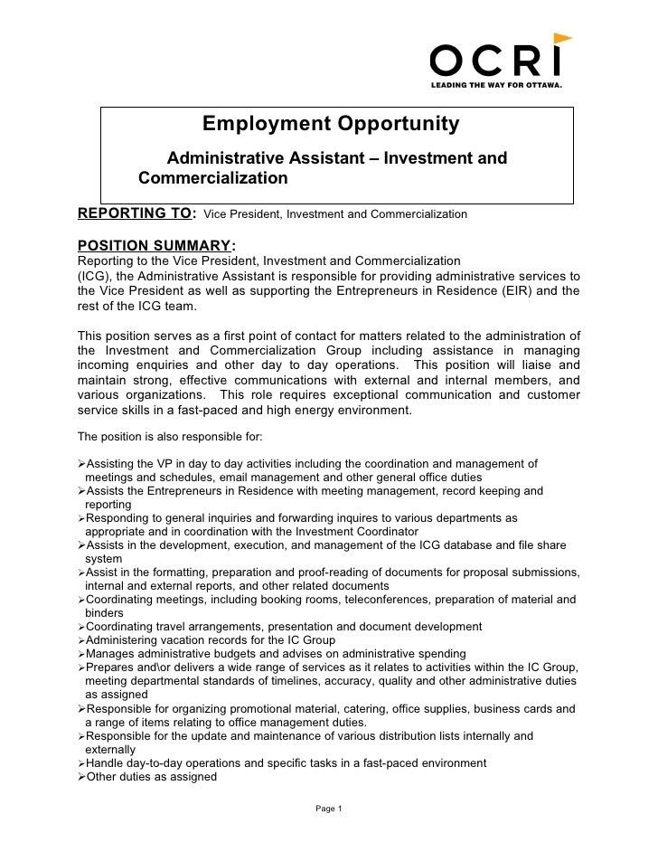 executive assistant duties responsibilities resume
