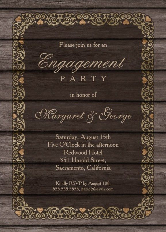 Country engagement party invitations - Personalize Online!