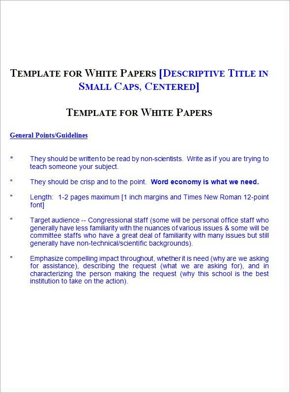 White Paper Template Word - Word - Excel Templates