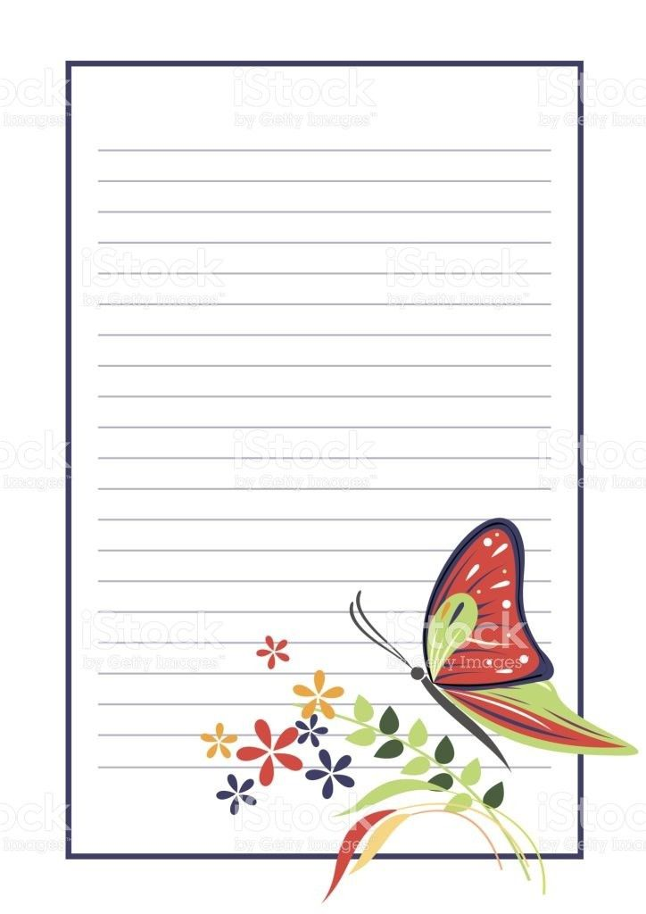Vector Blank For Letter Or Greeting Card Form With Frame Lines ...