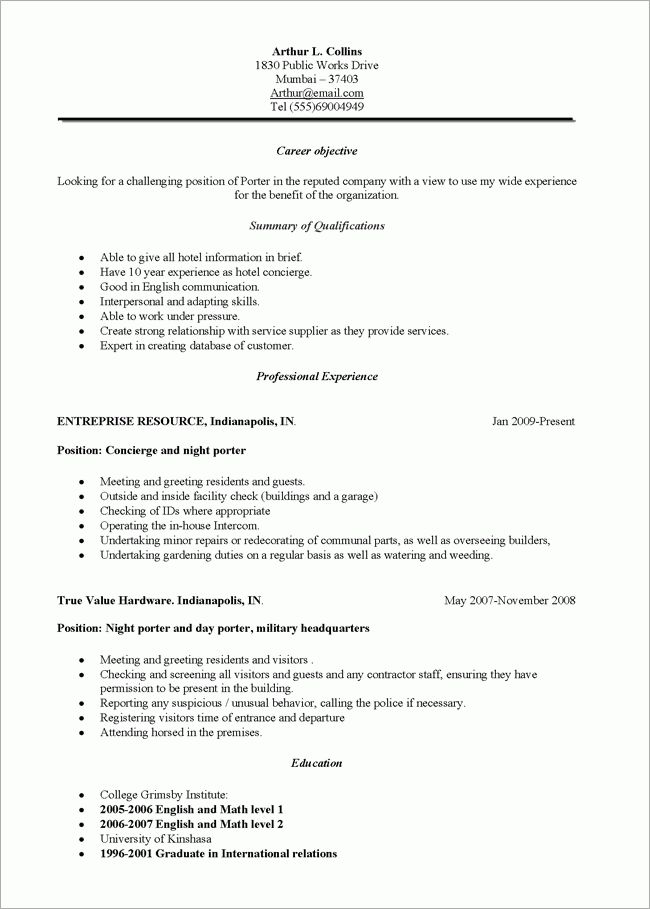 janitorial sample resumes