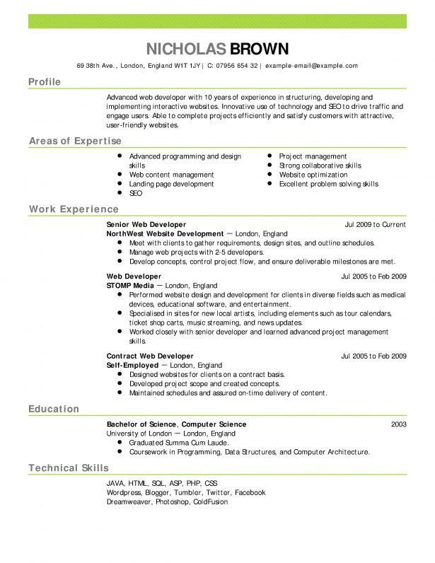 Curriculum Vitae : Example Curriculum Vitae In English Software ...
