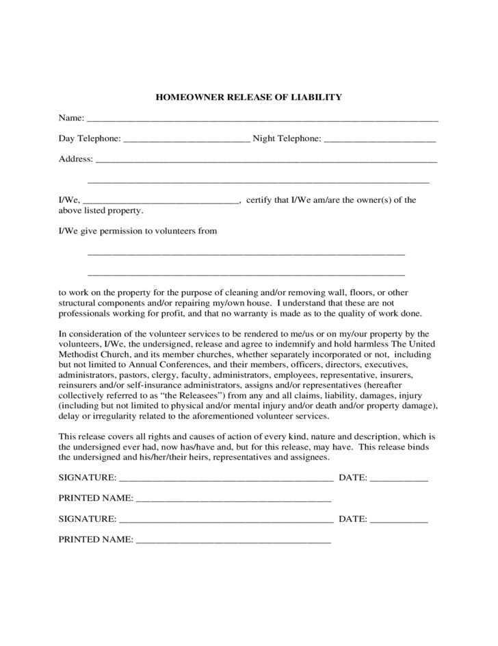Homeowner Liability Waiver Sample Form Free Download  Free Liability Waiver