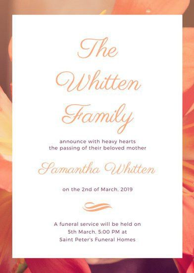 Peach Flower Photo Background Death Announcement - Templates by Canva