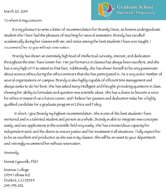 Professional Help with Graduate School Letter of Recommendation ...