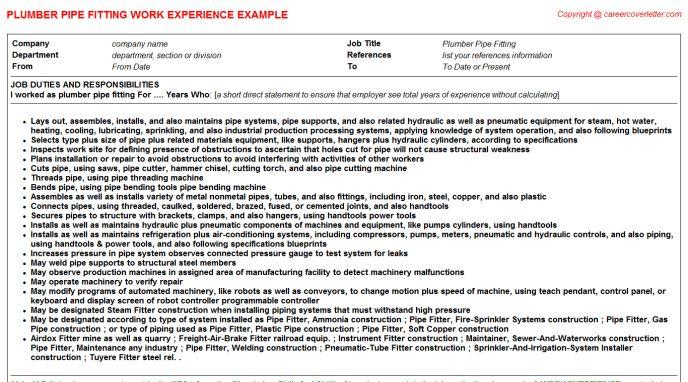 plumber resume samples. basic resume for plumber. irrigation ...