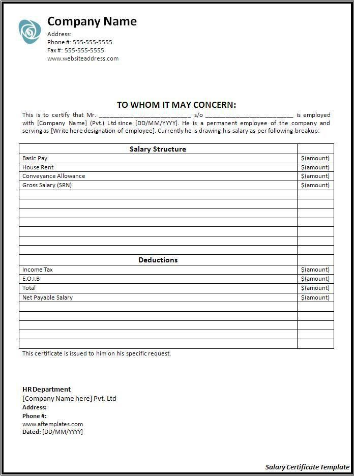 Salary Certificate Template - Word Excel PDF