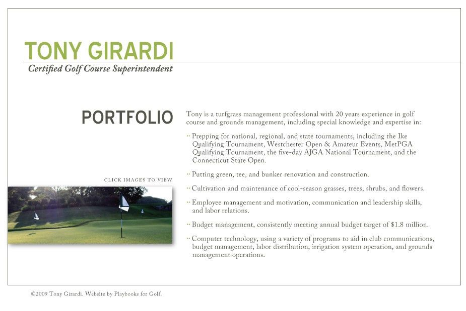 Tony Girardi :: Certified Golf Course Superintendent