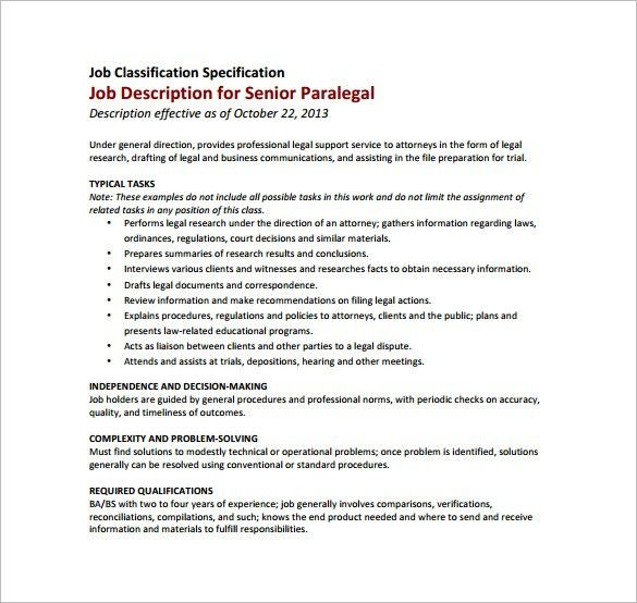 paralegal description of duties