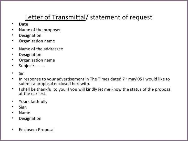 TRANSMITTAL LETTER SAMPLE FOR PROPOSAL | proposalsampleletter.com
