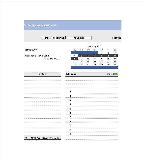 Weekly Agenda Template – 10+ Free Word, Excel, PDF Format Download ...