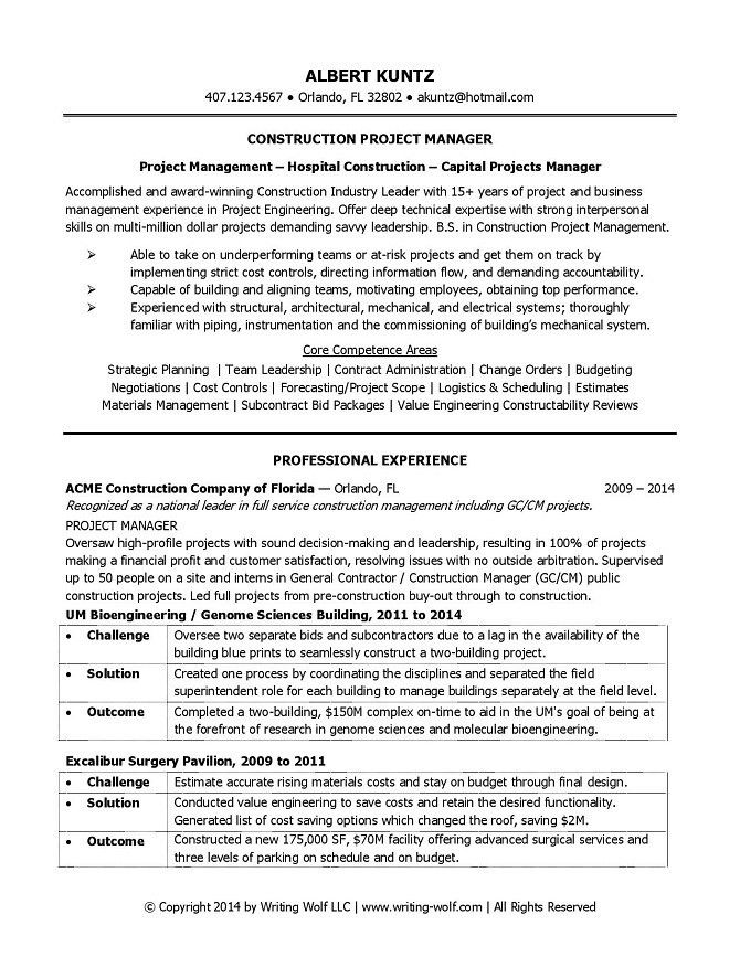Construction Project Manager Resume | WRITING WOLF - Resume Writer