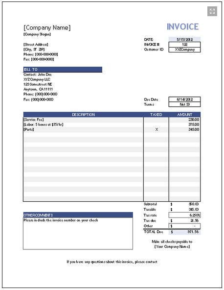 downloadable invoice template free | http://www.vertex42.com ...
