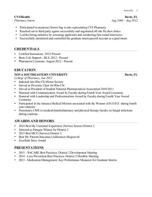 Pharmacy Internship Resume  CityEsporaCo