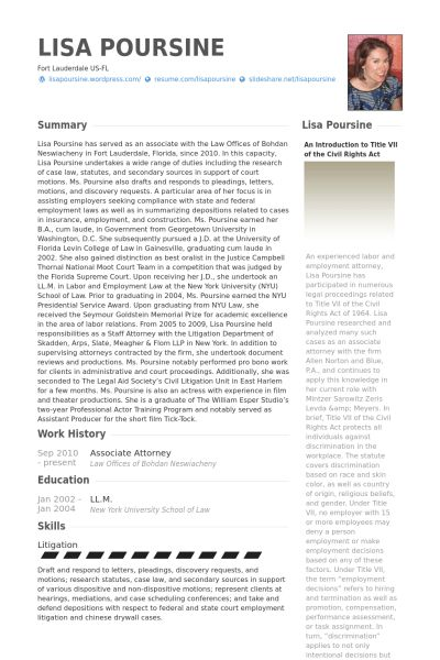 Associate Attorney Resume samples - VisualCV resume samples database