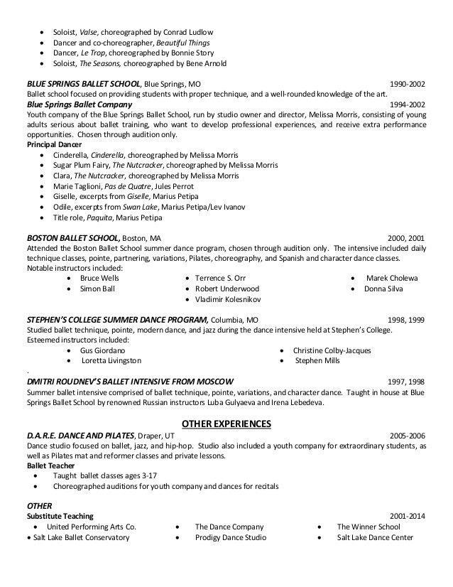 Rachel Oberg Ballet Resume 2016