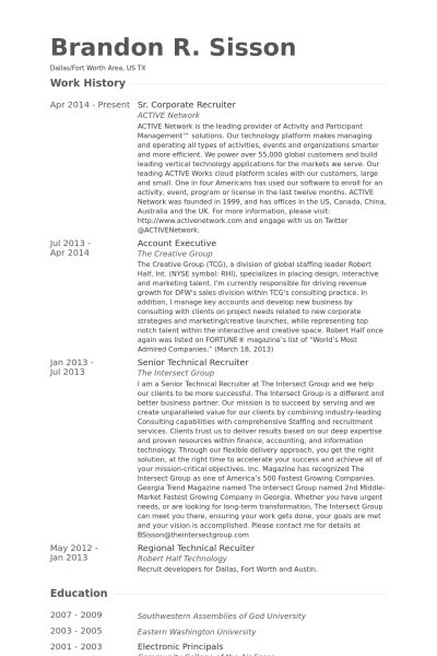 Corporate Recruiter Resume samples - VisualCV resume samples database
