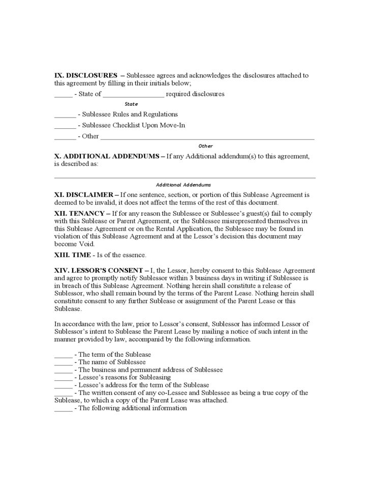 Louisiana Sublease Agreement Form Free Download