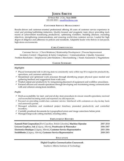 Inspiring Resume Examples For Customer Service Manager 23 With ...