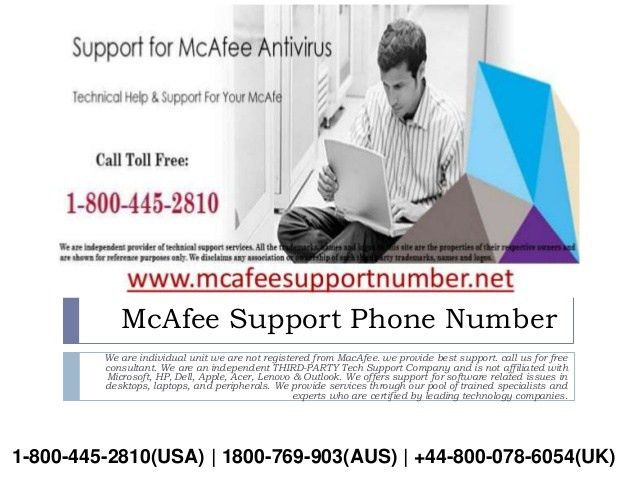 McAfee technical support number USA | customer care toll free number