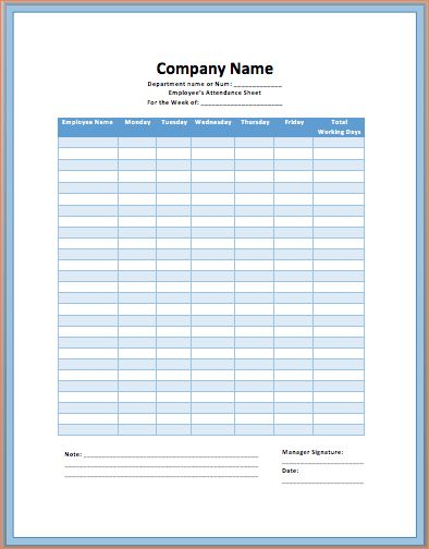 6+ printable attendance sheet | Procedure Template Sample