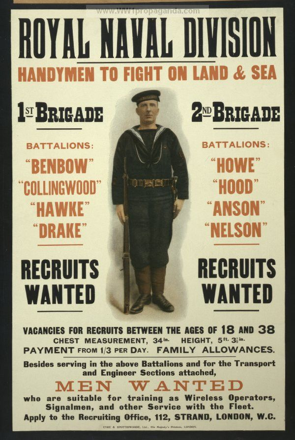 Examples of Propaganda from WW1 | Royal naval division. Handymen ...