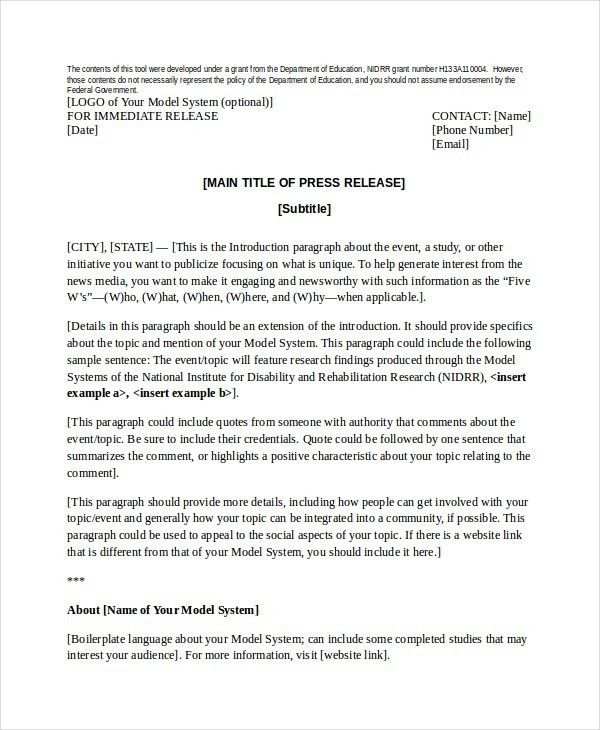 Press Release Template | ossaba.com