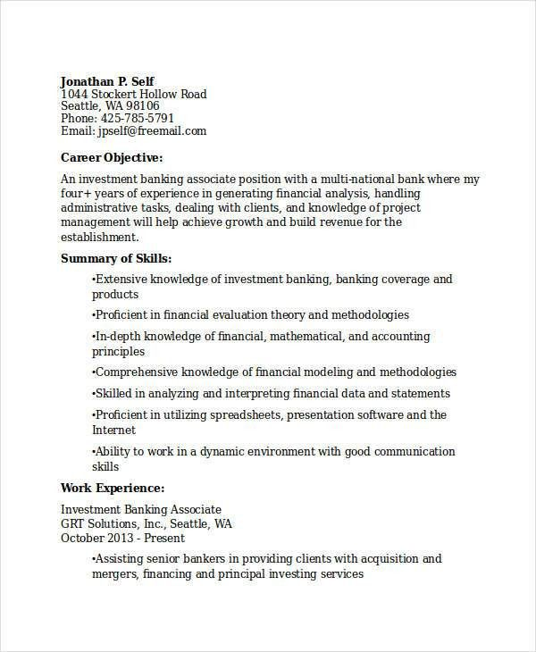 Best Banking Resume Templates - 31+ Free Word, PDF Documents ...