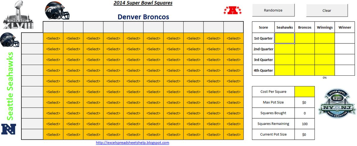 download 2014 super bowl squares spreadsheet | Excel | Pinterest ...