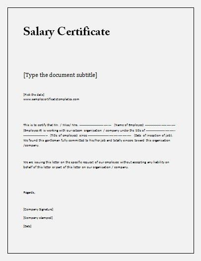 Certificate for salary Template DOC | Blank Certificates