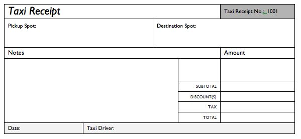 Taxi Receipt Template Excel. - Google Search