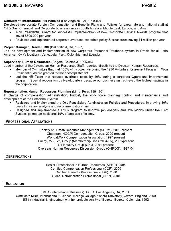 Resume Sample 11 - International Human Resource Executive resume ...