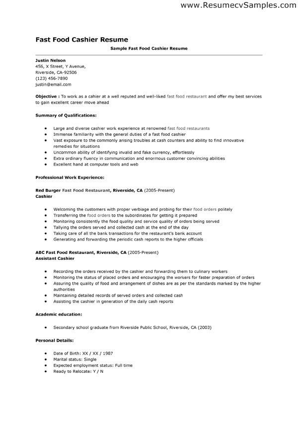 resume sample cashier cashier resume the resume template site this ...