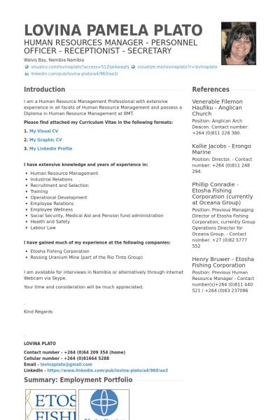 Human Resources Manager Resume samples - VisualCV resume samples ...